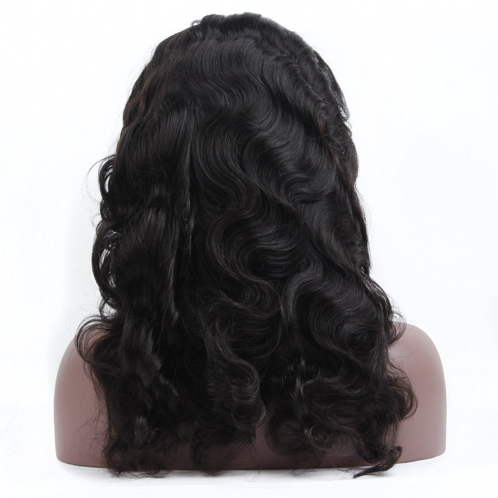 Queen Plus Body Wave 360 Lace Frontal Wig 180% Density Peruvian Virgin Hair Full Lace Cap Band Human Hair Wigs For Black Women Pre Plucked Hairline with Baby Hair (18inch)