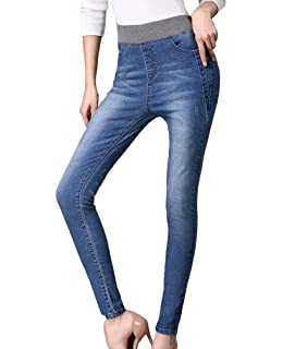 2b40ada73b3442 YuanDian Damen Herbst Winter Lässige Große Größen Elastische Taille High  Waist Bleistift Knöchel Slim Fit Jeans