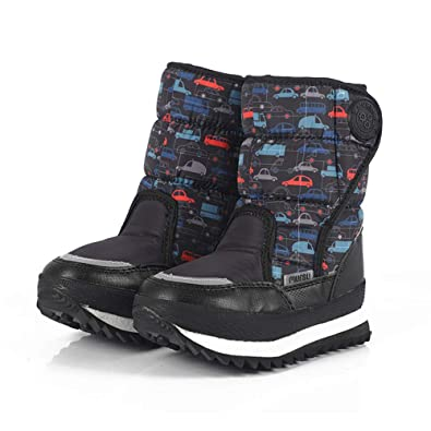 Toddlers//Little Boys /& Girls Warm /& Dry Easy Close ALLAK Kids Insulated Snow Boots