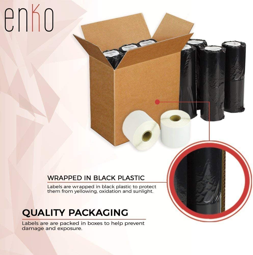 enKo - Compatible DK-2225 Continuous Paper Labels (1-1/2 Inch x 100 Feet) Compatible for Brother QL Label Printers - 6 Rolls + 2 Refillable Cartridges : Office Products