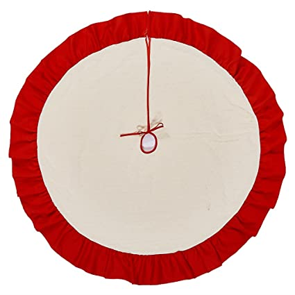 lalent christmas tree skirt 42 inch red and beige large holiday christmas decorations home