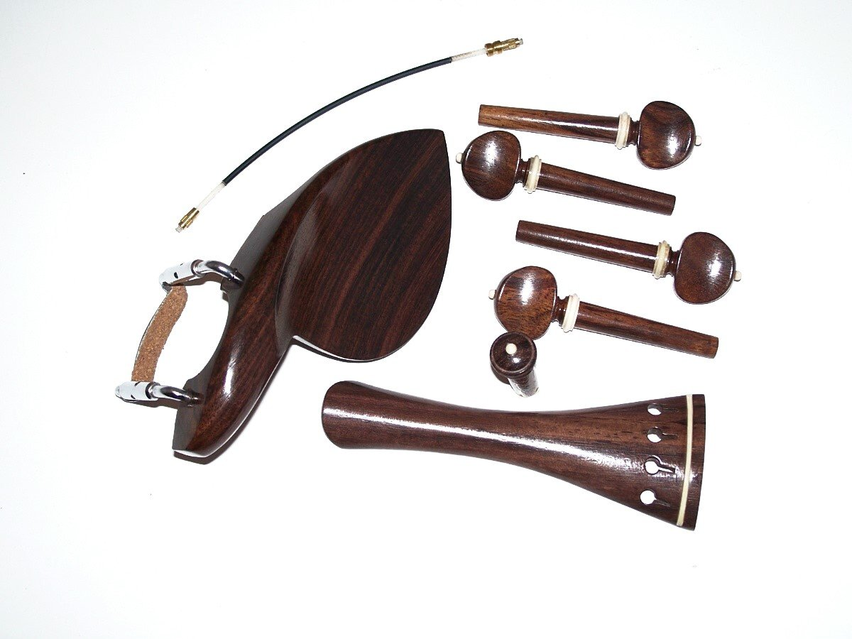 A 4/4 Violin Set of RosewoodParts, Wendling Chin Rest, Swiss Pegs, End Pin, French Tail Piece W White Trim, and Tail Gut VWWS