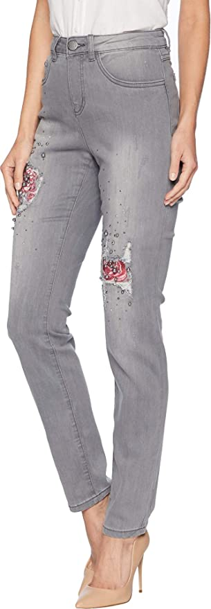 de459aec FDJ French Dressing Jeans Womens Sterling Roses Embroidered Olivia Slim Leg  at Amazon Women's Jeans store