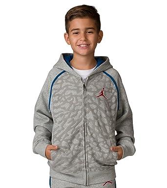 8b1942e164f479 Nike Boy s Air Jordan Retro 3 Fleece Hoodie 953806 042 Size Small Heather  Grey Blue Red