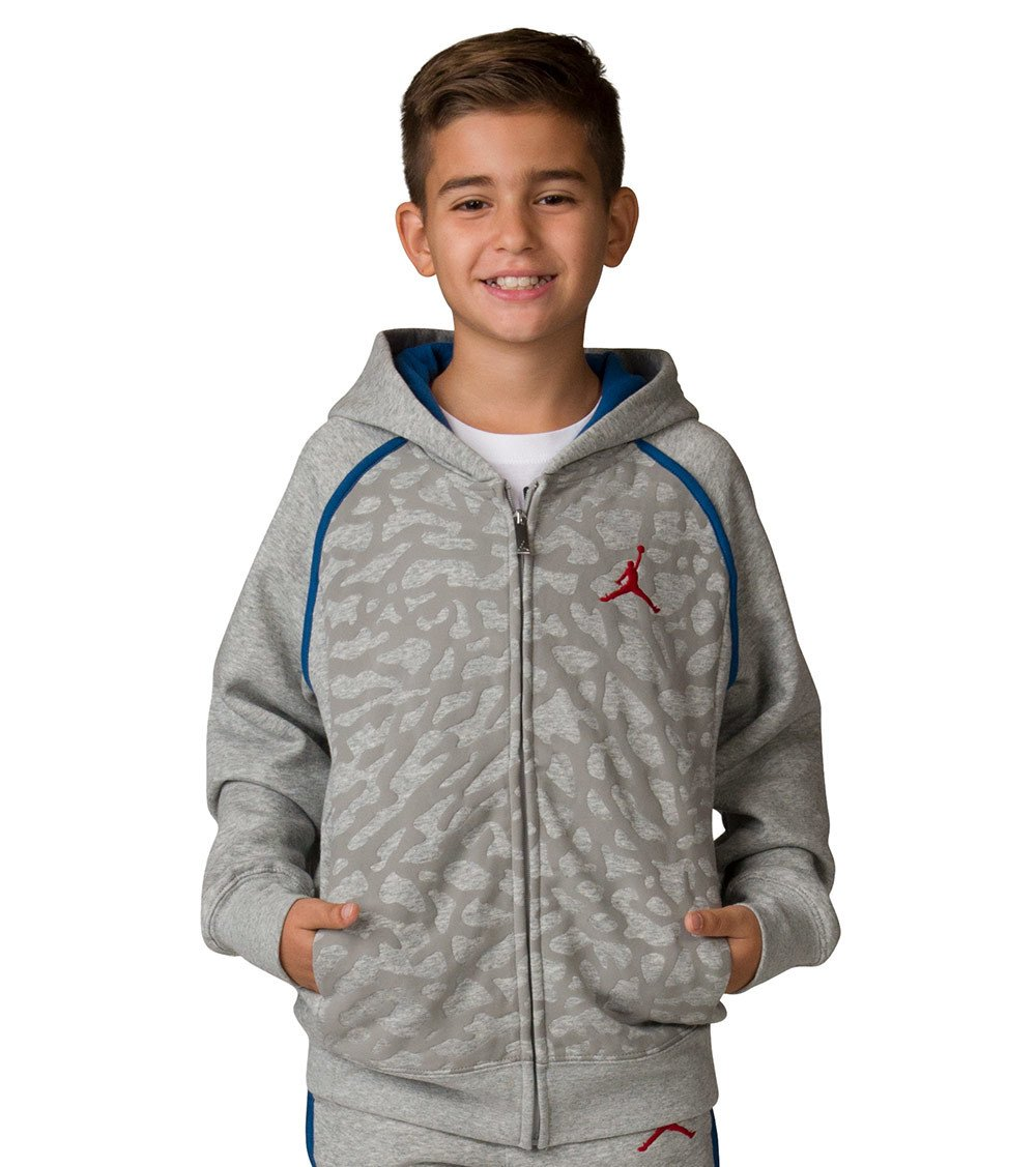 NIKE Boy's Air Jordan Retro 3 Fleece Hoodie 953806-042 (Size: Large) Heather Grey/Blue/Red