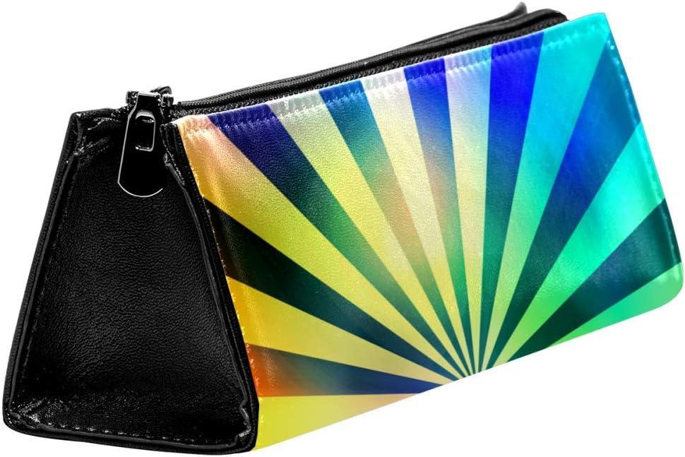 EZIOLY Rainbow Rays - Estuche para lápices y cosméticos con cremallera, diseño de arcoíris: Amazon.es: Oficina y papelería