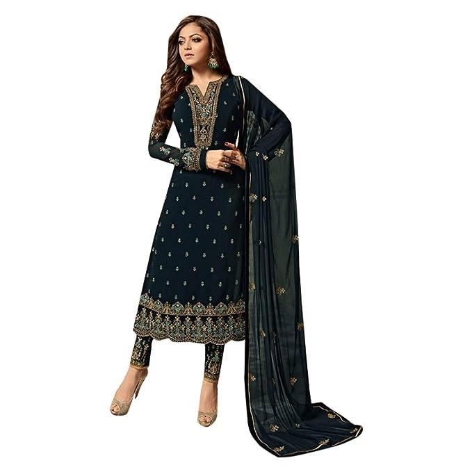 Amazon.com: Colección Bollywood Hermoso bordado azul marino ...