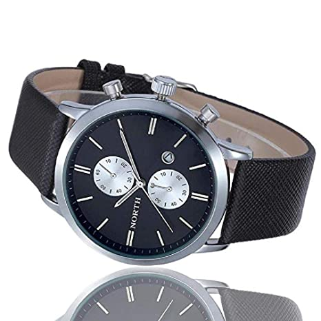 Scpink Reloj militar, Moda Hombre Casual Fecha impermeable Reloj de pulsera de cuero