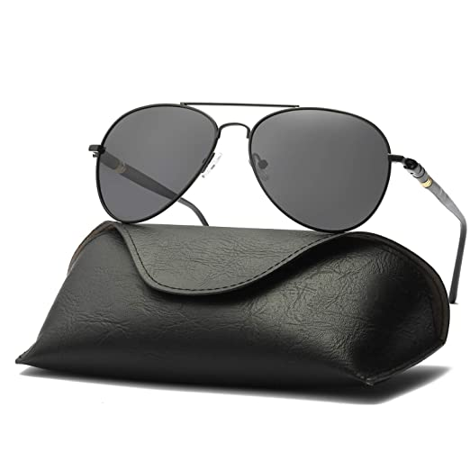 602590ef20ca Ray Parker Men Classic Aviator Polarized Sunglasses UV 400 Protection RP209  with Black Frame/Grey