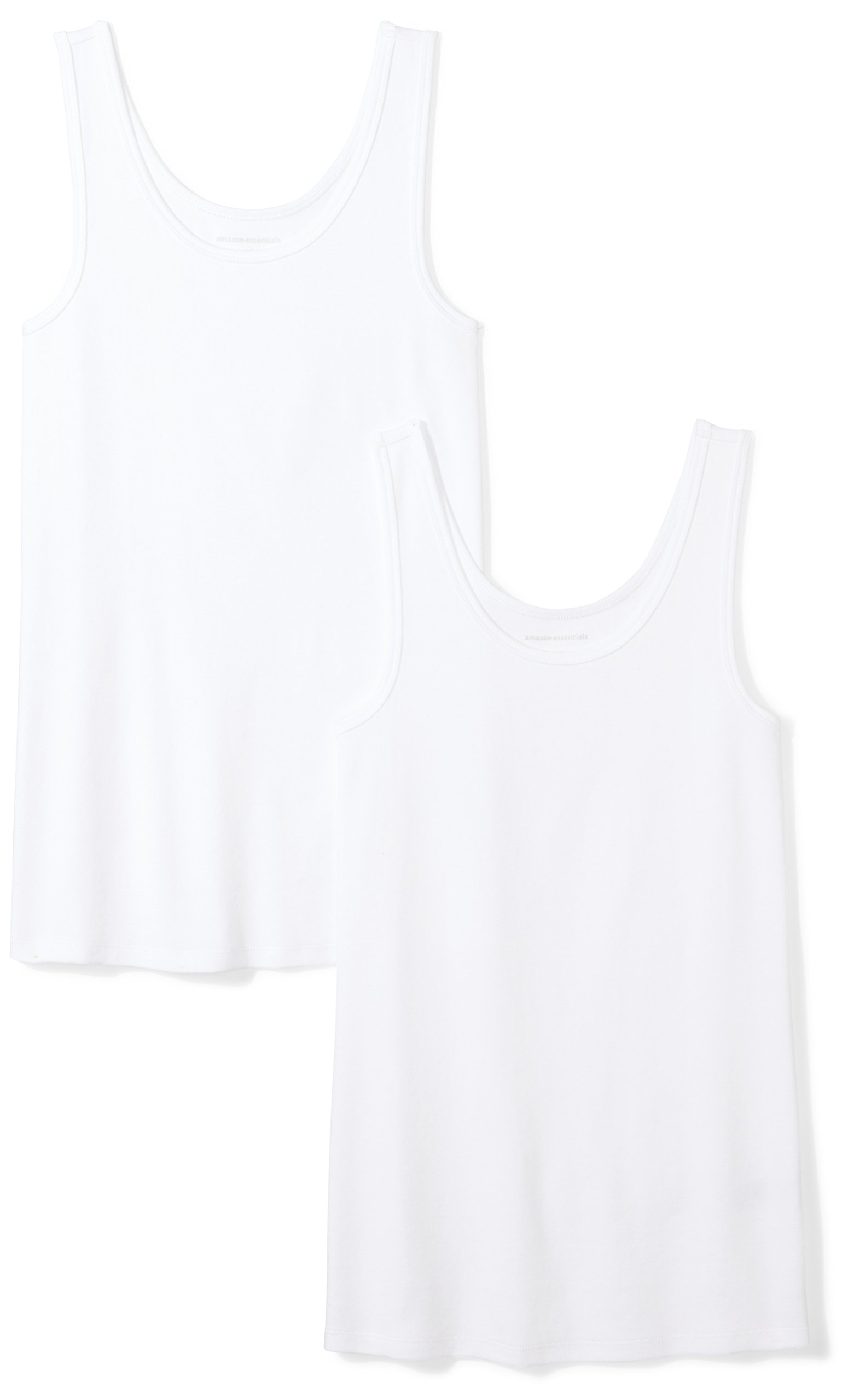 Amazon Essentials Women's 2-Pack Tank, White, Medium