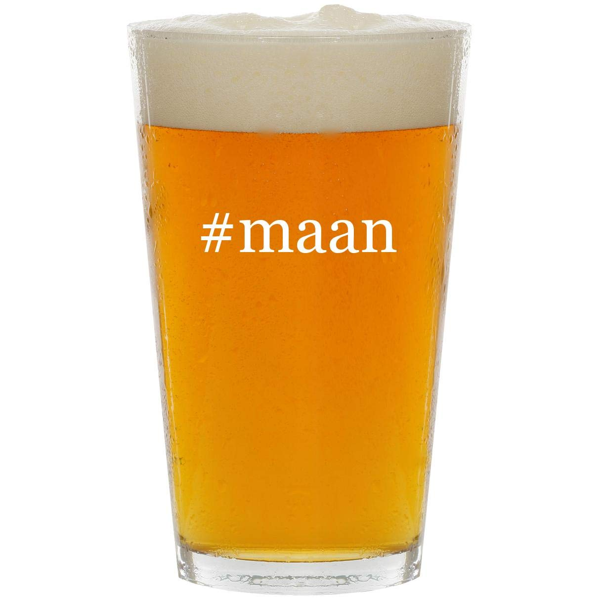 #maan - Glass Hashtag 16oz Beer Pint by Molandra Products