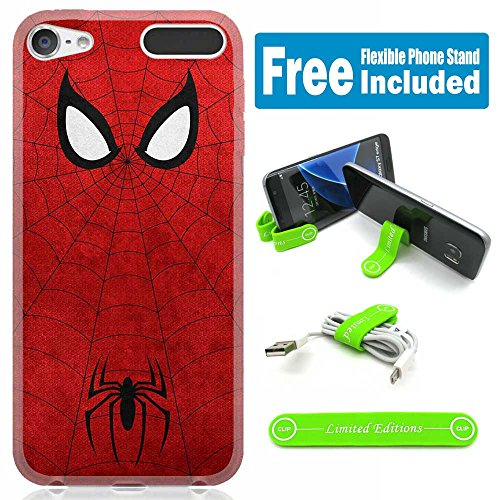 [Ashley Cases] TPU Skin Cover Case for iPod Touch 5th/6th Generation with Flexible Phone Stand - Spiderman Minimal Red - Spiderman Case For Ipod
