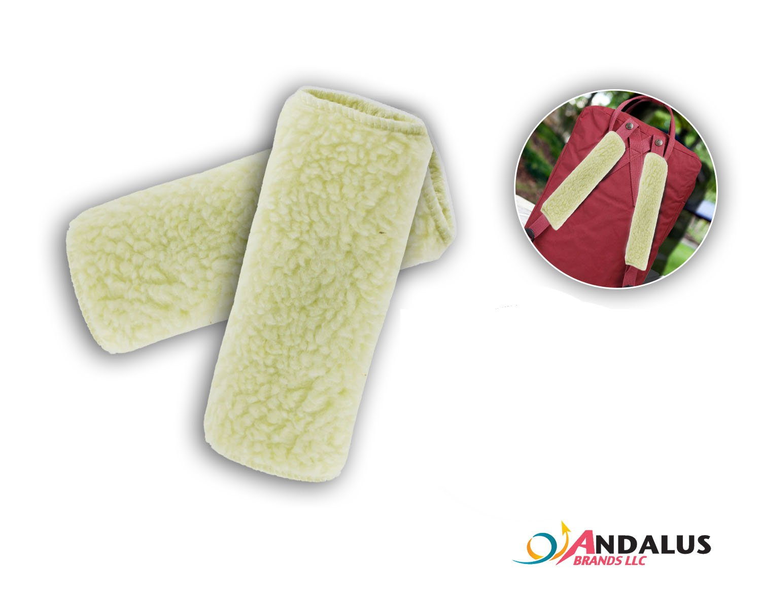 Synthetic Wool Machine Washable Andalus Brands ANDALUS Beige Reversible Soft Seat Belt Shoulder Pads 2 Pack Comfortable Driving