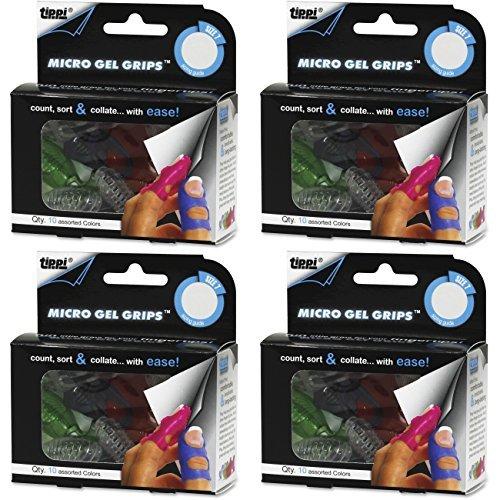 Lee Tippi Micro Gel Fingertip Grips - Size 7 Medium - 10 Pack (S61070), 4 Packs