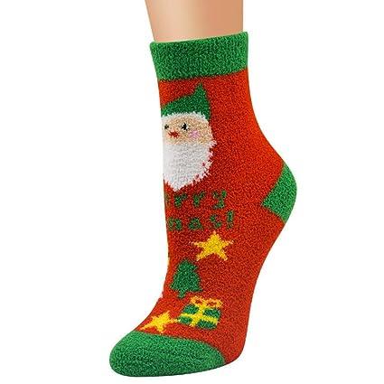 VJGOAL Unisex Moda casual Navidad Suave Transpirable Cálido Coral Terciopelo Santa Muñeco de nieve Impresión Calcetines a media pierna(Un tamaño, ...