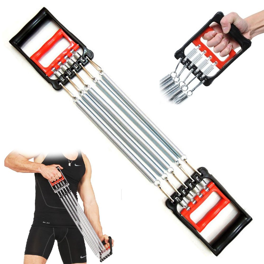 FITNESS MANIAC 5 Spring Chest Expander Exercise Fitness Strength Training Adjustable Resistance by FITNESS MANIAC