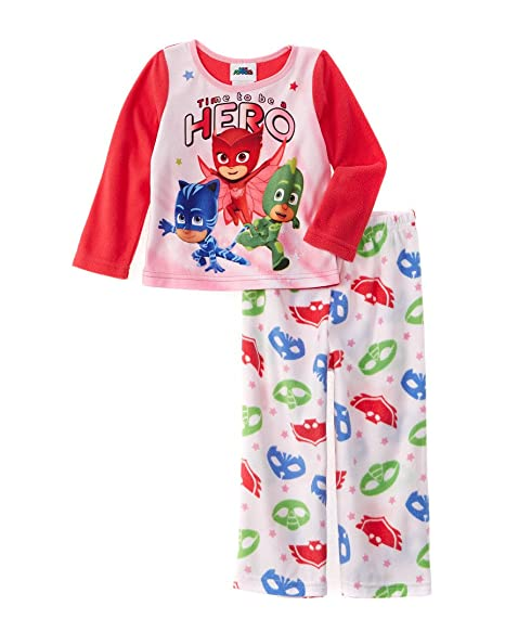 Pj Masks Girls Fleece Pajama Set Featuring Catboy, Owlette, And Gekko (6)