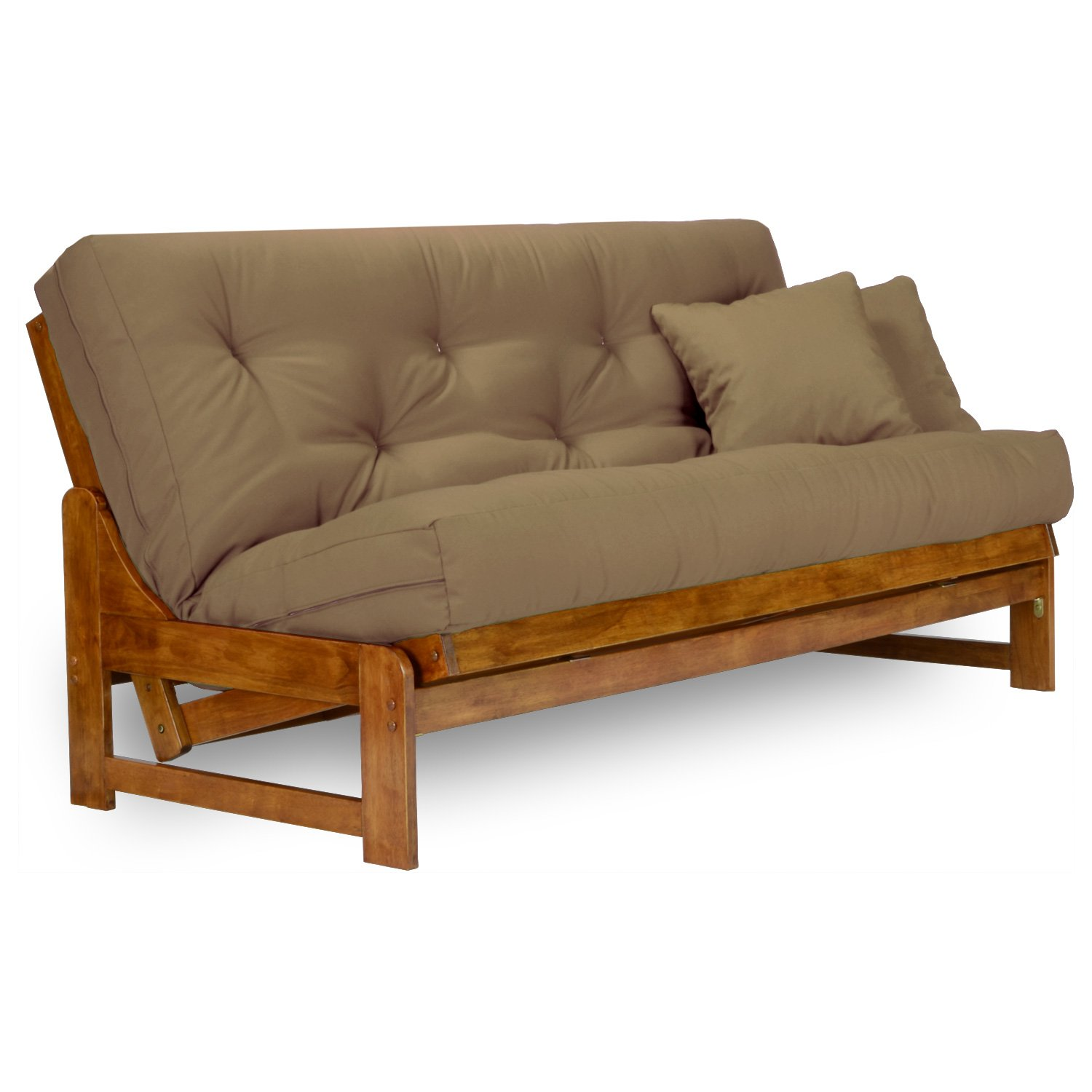 Arden Futon Set - Full Size Futon Frame with Mattress Included (8 Inch  Thick Mattress