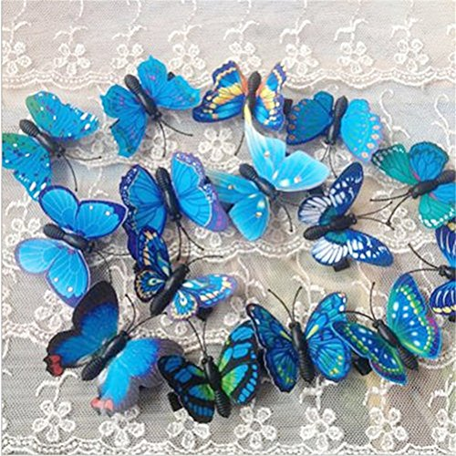RoseSummer 5Pcs Butterfly Hair Clips Bridal Hair Accessories Wedding Photography Costume (4cm, Blue)