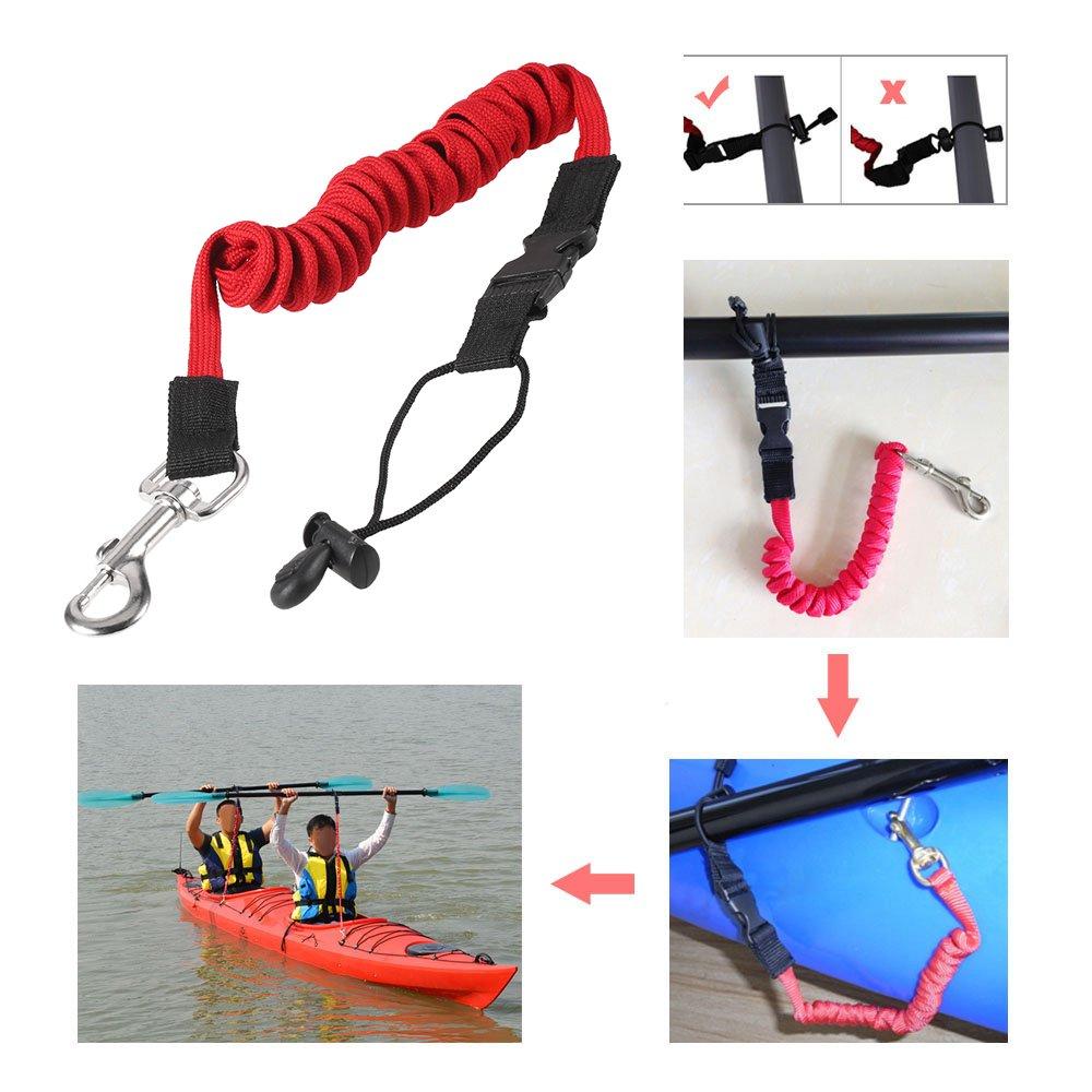 Lixada /Élastique Paddle Laisse Kayak Cano/ë Canne /à P/êche de S/écurit/é Bateaux /à Rames Enroul/é Longe Cordon Tie Corde
