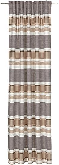 Fertigvorhang Gardine ELPASO Schal mit Schlaufenband Rot-Grau Blick-dicht
