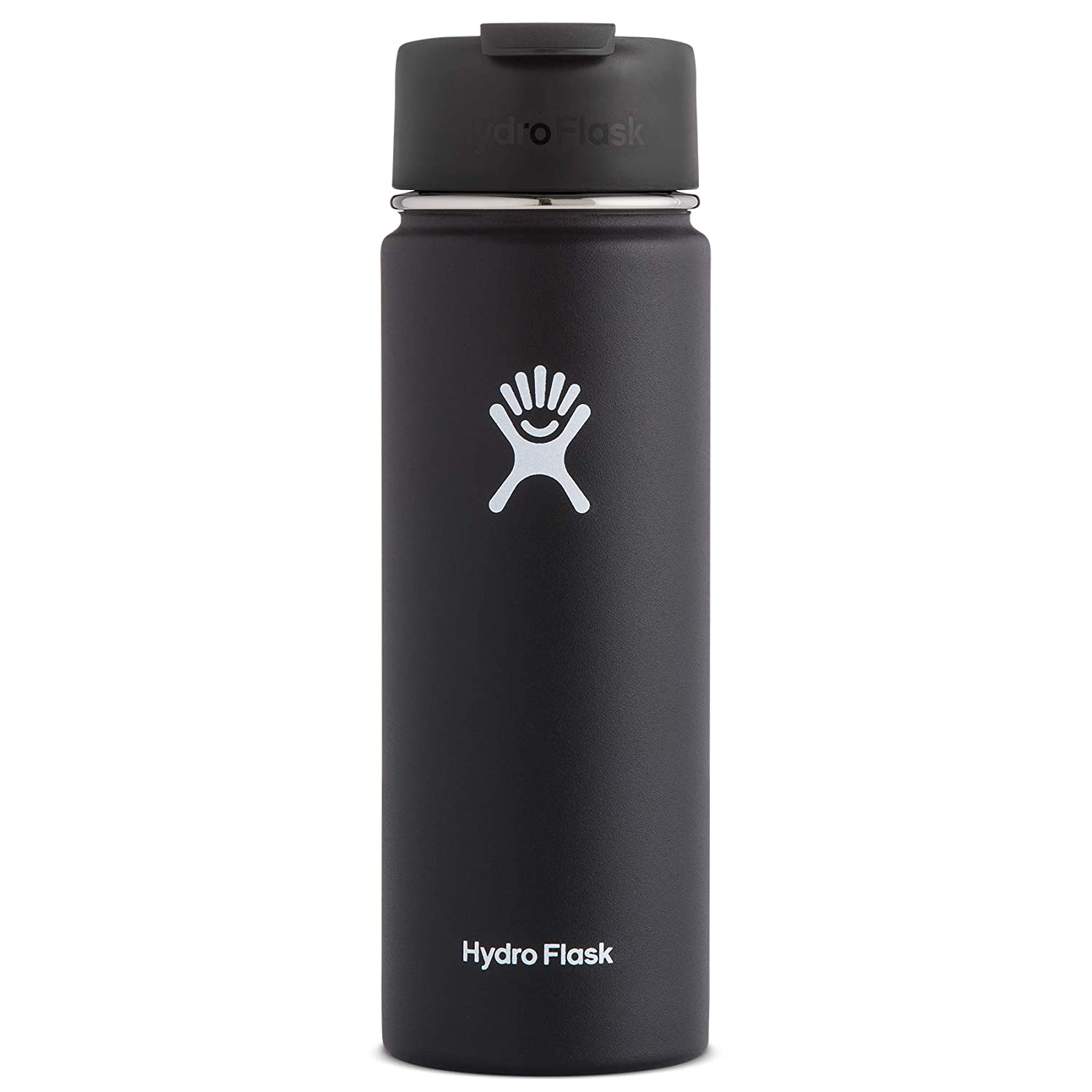 Hydro Flask 20 oz Travel Coffee Flask | Stainless Steel & Vacuum Insulated | Wide Mouth with Hydro Flip Cap | Black