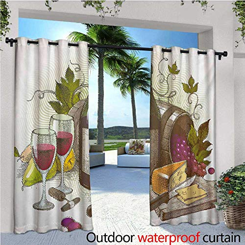 homehot Wine Fashions Drape Vintage Style Composition with Wine and Cheese Fruits Gourmet Taste Beverage and Food Outdoor Curtain Waterproof Rustproof Grommet Drape W96 x L96 Multicolor from homehot