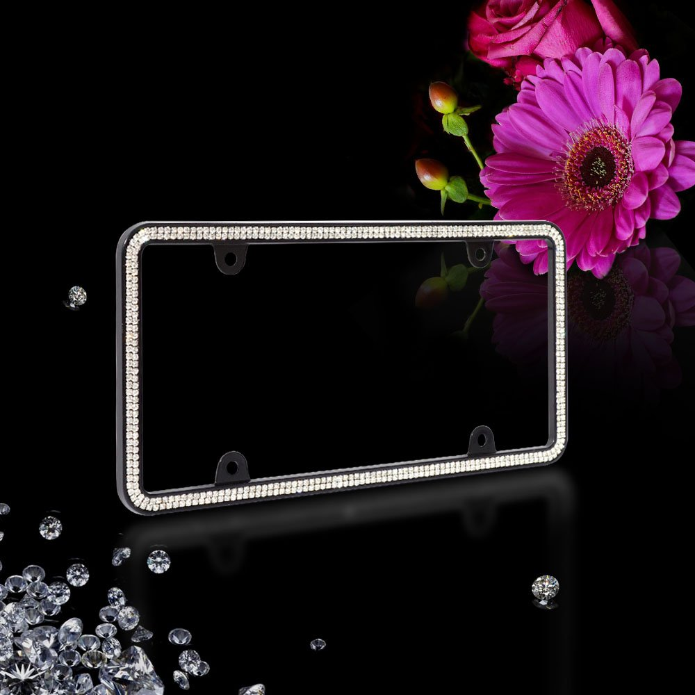 JR2 500 WB Super Bling WHITE Glass Crystals Black Metal License Plate Frame+Free White Crystal Cap and Screws