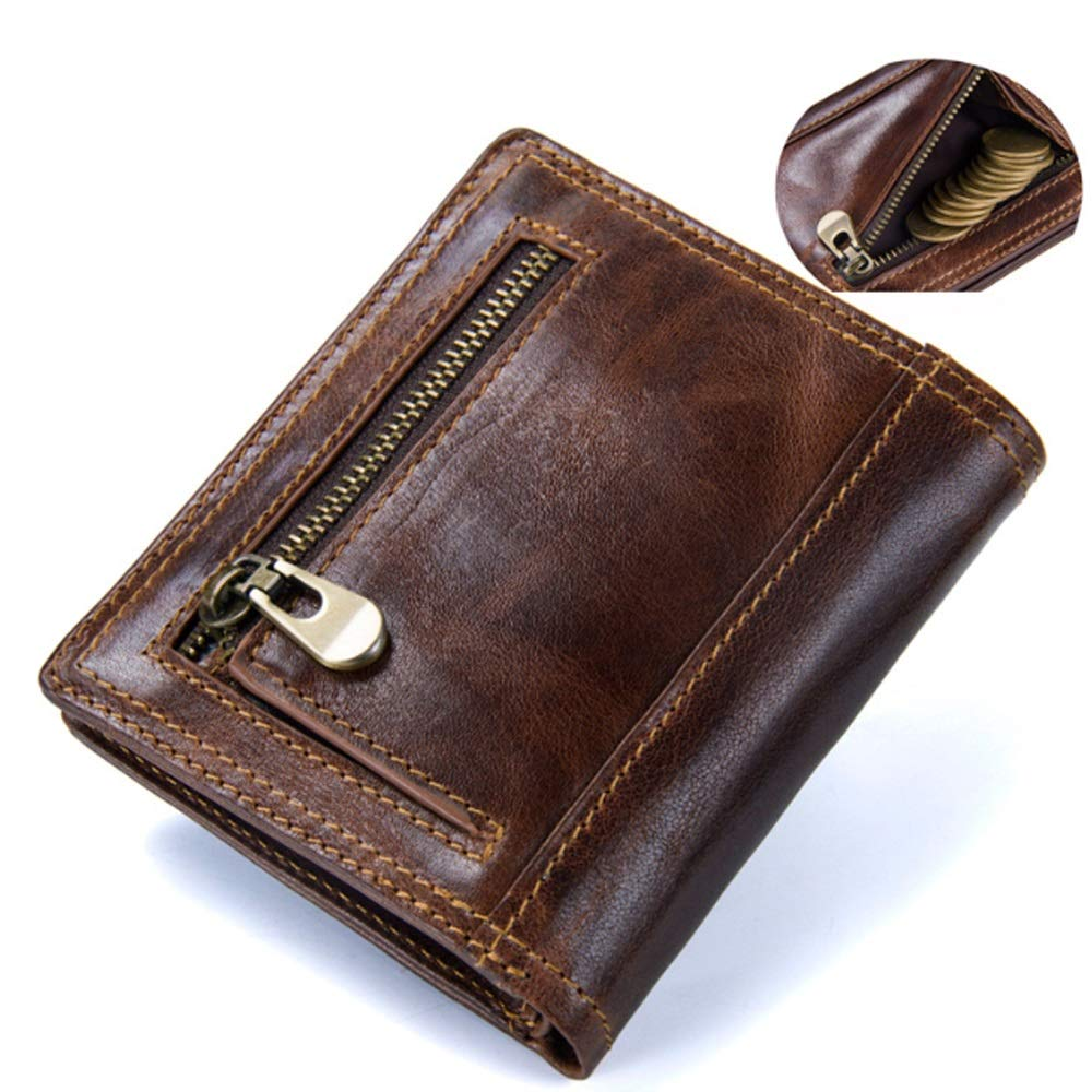 Color : Brown, Size : S Ruanyi Wallet Leather Short Retro Crazy Eagle Leather Bag for Men
