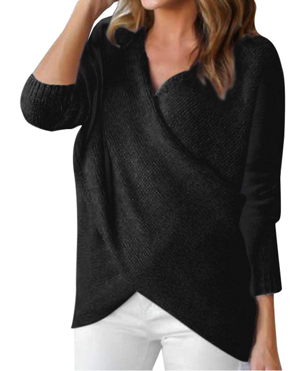 LovInParis Long Sleeve Cross Front V Neck Pullover Sweaters for Women Sweater Top