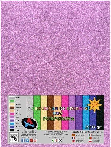 Pack 24 Cartulina Purpurina A4 Rosa: Amazon.es: Hogar