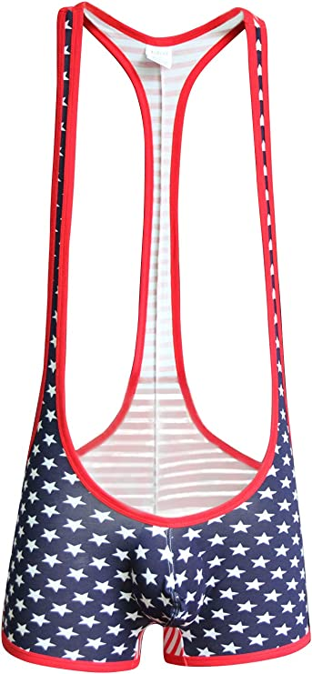 Sports Hommes Wrestling Singlet Body USA American Flag Justaucorps Muscle Combinaison