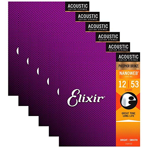 Elixir Phosphor Bronze Nanoweb 16052 Light 12-53 Acoustic Guitar Strings 6-Pack w/Bonus Elixir Polishing Cloth