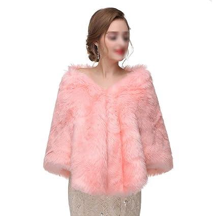 Abrigo de Piel sintética para Mujer Mantón de Invierno Bufandas Nupciales para Mujer Estuelas Chaqueta Poncho