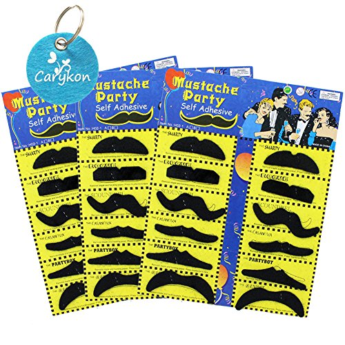 Carykon Self Adhesive Black Fake Mustaches Moustaches Beards Costume Party Disguise for Masquerade Party & Performance, Set of 36