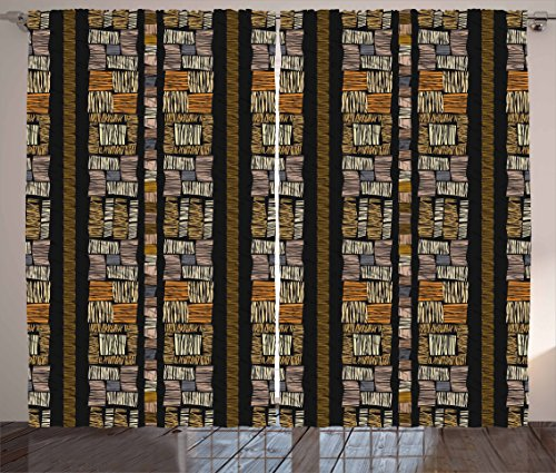 - Ambesonne Zambia Curtains, Bohemian African Civilization Striped Grunge Fashion Culture Pattern, Living Room Bedroom Window Drapes 2 Panel Set, 108 W X 84 L Inches, Pastel Brown