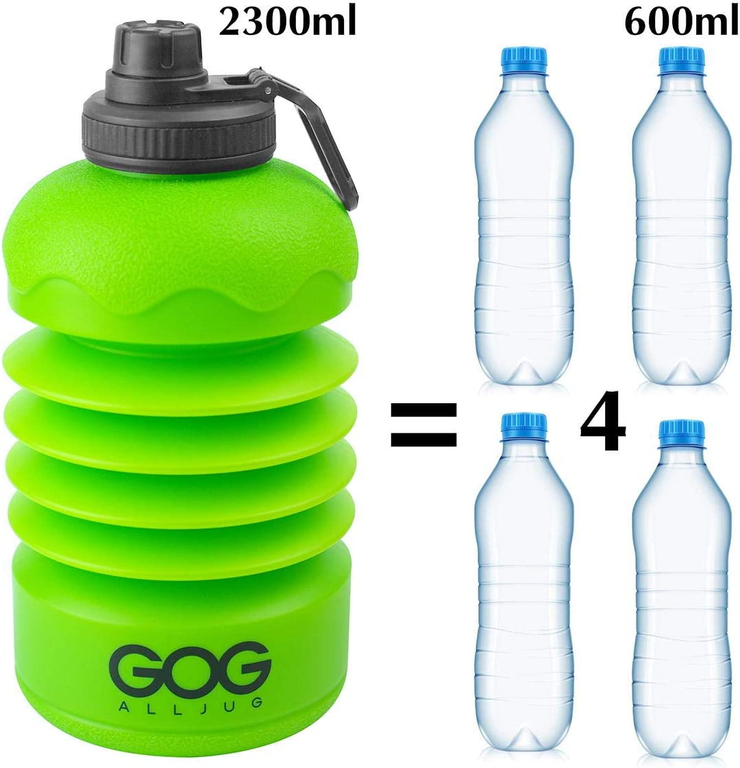 GOGALLJUG 2.2L Collapsible Water Bottle-Reuseable Large Capacity 75 oz Water Bottle Wide Mouth Half Gallon Water Bottle for Travel Gym Camping Hiking