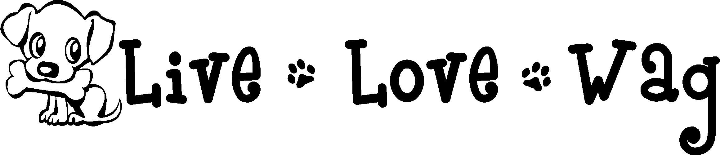 2 Live Love Wag Cute Puppy Wall Art Sayings Quotes Paw Prints