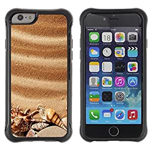 "All-Round Hybrid Rubber Case Hard Cover Protective Accessory Compatible with Apple iPhone 6PLUS ¡ê¡§5.5"") - sea seashells brown romantic summer"