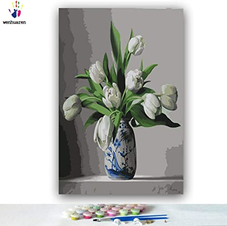 White Rose 16 20 inch Paint by Number Kits for Adults,Kids DIY Digital Canvas Oil Painting Gift for Adults Kids Paint by Number Kits Home Decorations