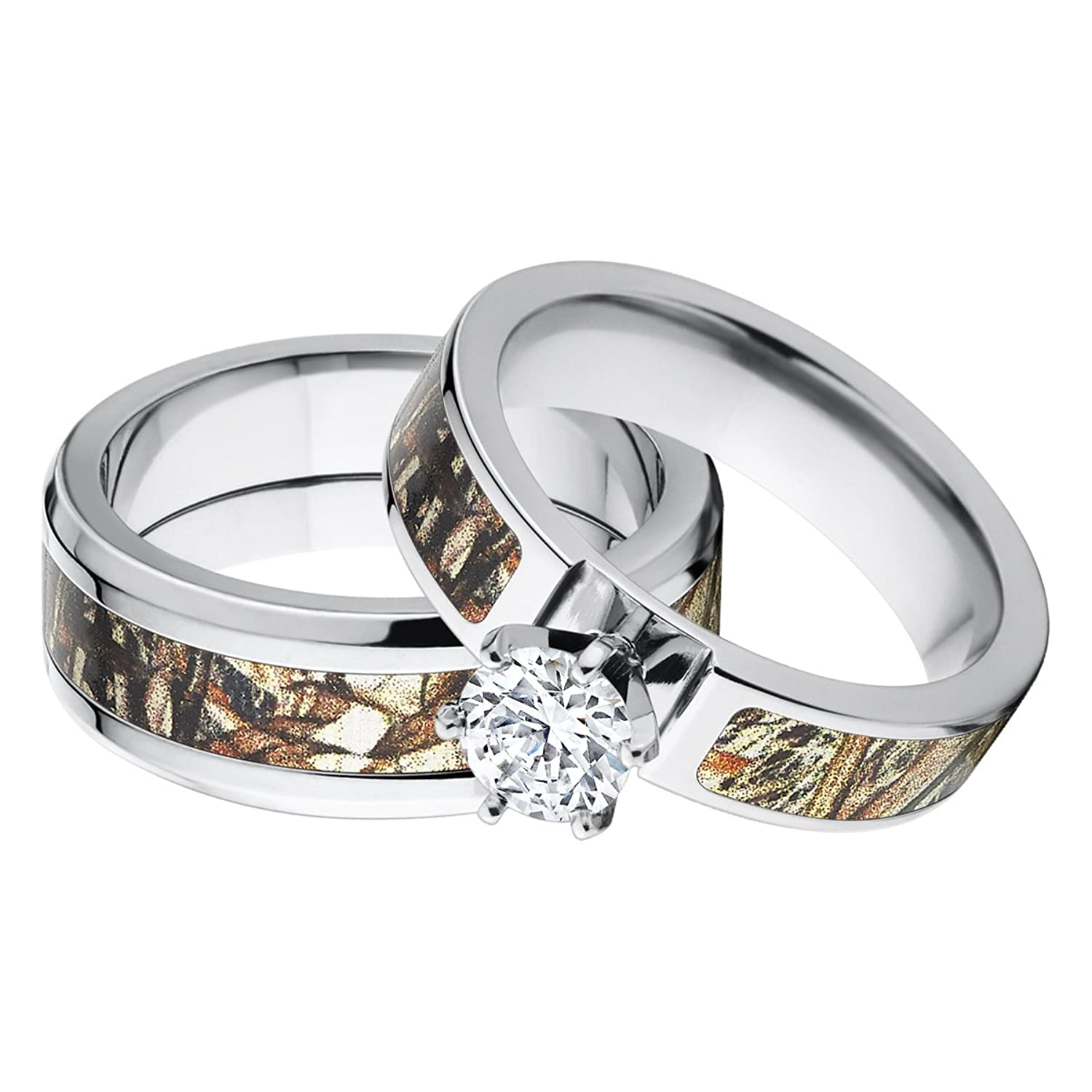 mossy oak wedding ring camouflage wedding ring sets Amazon Com His And Her S Matching Mossy Oak Duck Blind Camo Wedding Ring Set Jewelry