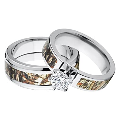 his and hers matching mossy oak duck blind camo wedding ring set - Camo Wedding Rings For Him