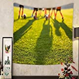 Keshia Dwete Custom tapestry blurred soccer field at school young soccer players training on pitch soccer stadium grass