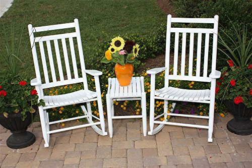 2 Rockers And Table Set Medium Back White by Dixing Seating