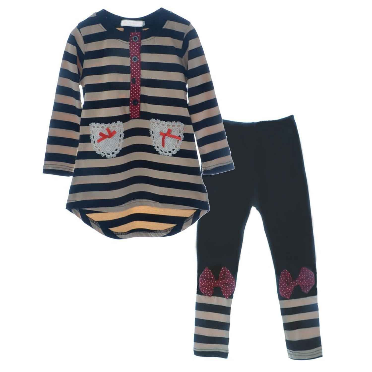 Little Girls Cute Long Sleeve Top   Pant Clothes Set Black1 Tag 120  5-6 Years