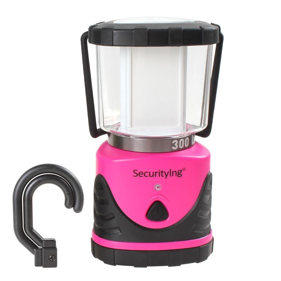 SecurityIng 10.63In Ultra Bright 300 Lumens 3 Modes 12 LED Water Resistant Shockproof Camping Lantern with Free Hanging Hook for Hiking, Emergencies, Hurricanes, Outages Pink