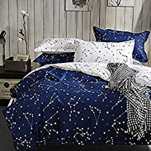 JCHX Blue Color constellation 3PC Duvet Cover Sets,Space Style Kids Boys Bedding Sets 1 Duvet Cover+2 Pillowcases (Twin)