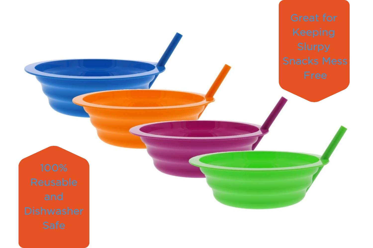 Arrow Sip-A-Bowl With Built In Straw, 22 oz, Blue, Purple,Green, Orange (4 Pack) by Arrow Home Products (Image #3)