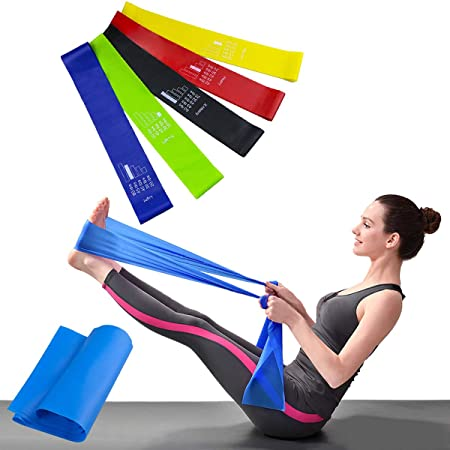 Bandas Elásticas Resistencia Ejercicio Set de 6 - Látex Natural Fitness Bandas para Ejercicio y Terapia Física, Pilates, Yoga, Rehab, Mejorar la ...