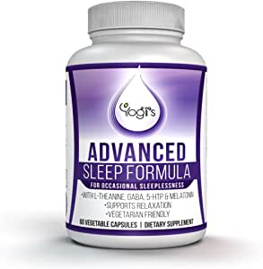 Yogi's Advanced Sleep Formula- Aid sleep for Relaxation, Stress & Anxiety Relief- Free EBOOK- Natural sleep aid with Melatonin, GABA, 5-HTP, L-Theanine-Sleep Supplement-Good sleep capsules-Dream sleep